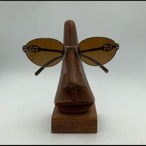 Vintage Sergio Tacchini 1120 Gold Oval Sunglasses